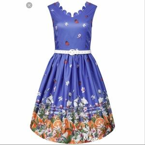 Lindy Bob Daria blue oranges dress, size 6 NWT